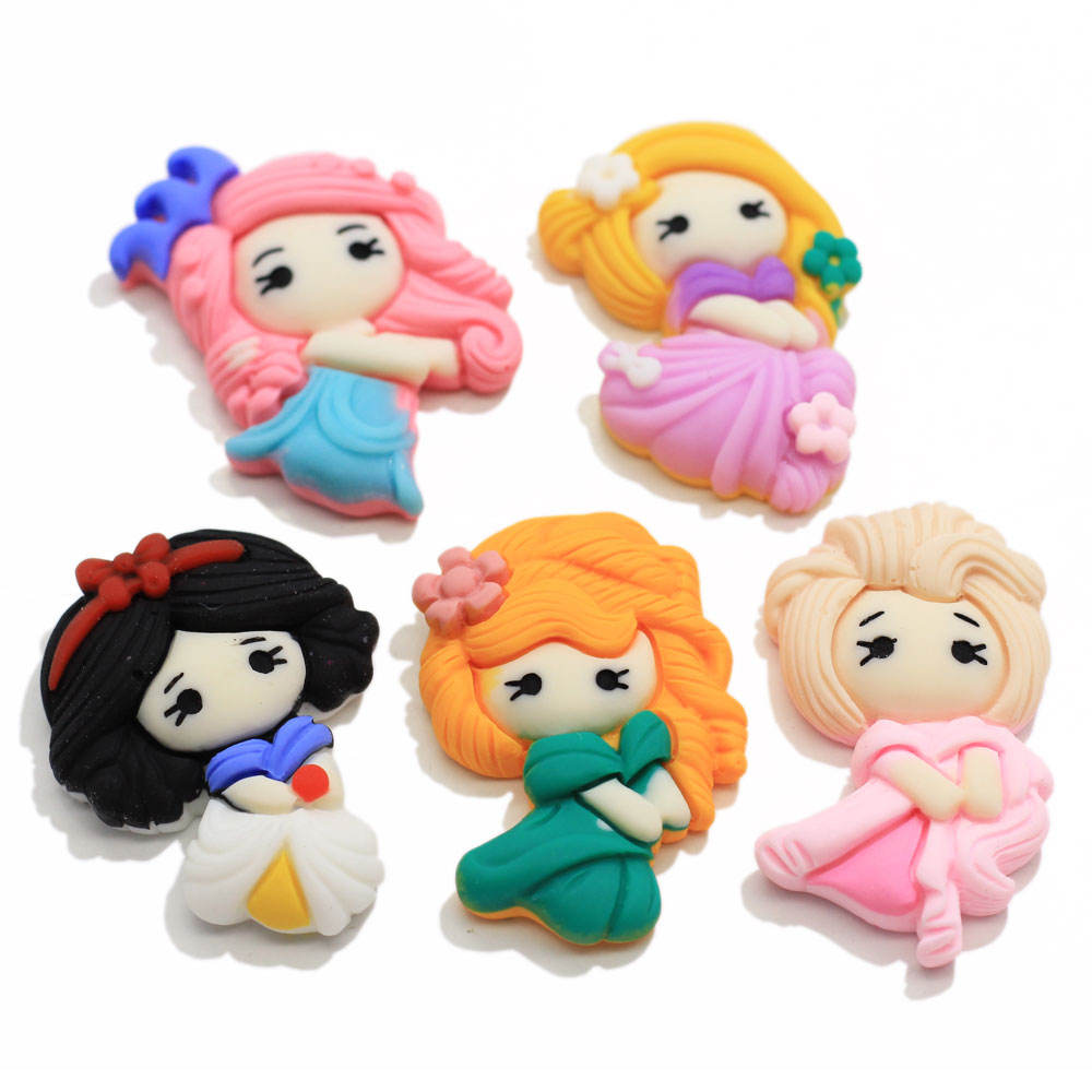 New Item Assorted of Kawaii Cartoon Crown Princess Cabochons Planar Resin Cabs Cute Charms for Slime Hair Bow Center