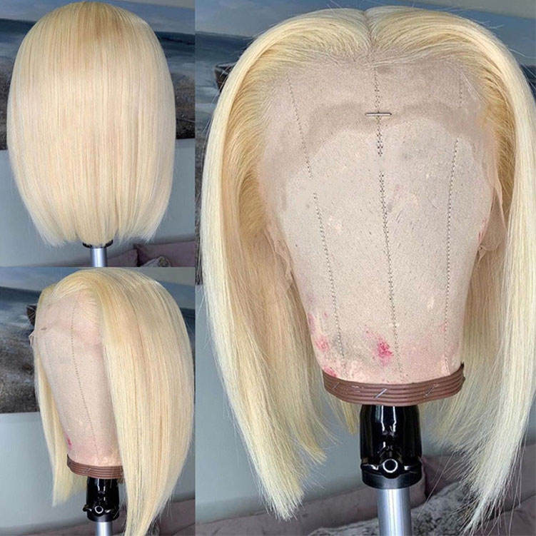HD 613 Transparent Blonde Human Hair Full Lace Wig, Ombre Bob Half Lace Front Wig Human Hair, Blonde 613 Hd Lace Frontal Bob Wig