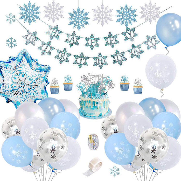 PARTYCOOL Baby Shower Party Supplies Blue White Princess Frozen Snowflake Party Set For Girl Birthday Party Decoration
