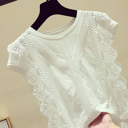Ladies Fashion Summer Clothing Soft Cotton Solid Shirt Women 2021 Trendy Sleeveless Lace Tops und Blouses