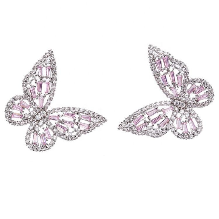 Super Fairy Hollow Inlaid Pink Zircon Butterfly Stud Earrings For Female