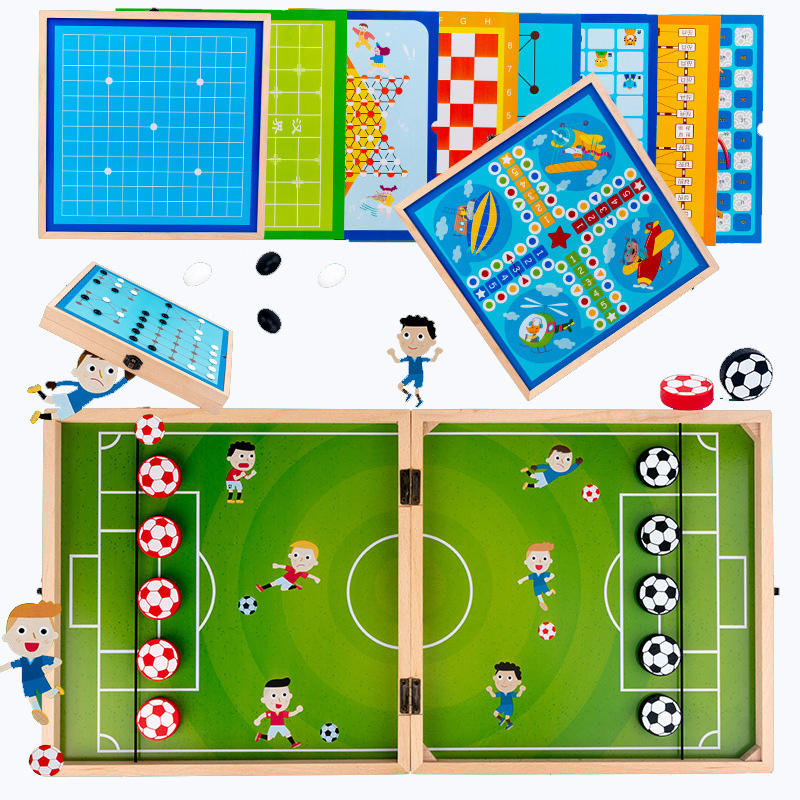 Amazon hot selling tabletop football pinball games wholesale wooden chess board games set for kids
