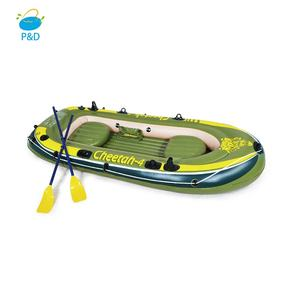 OEM Factory Price PVC Hull material 4 Person rowing boat with hand pump outdoor inflatable fishing boat for sale