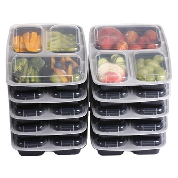 BPA free 3 compartment Durable Plastic Food Meal Prep Bento Container