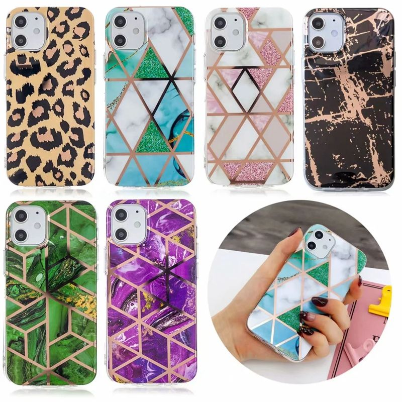 Luxury Geometric Marble Laser Soft TPU IMD Case For Samsung S21 Case S20 Ultra Note 20 A42 5G S20 FE Leopard Hybrid Cover