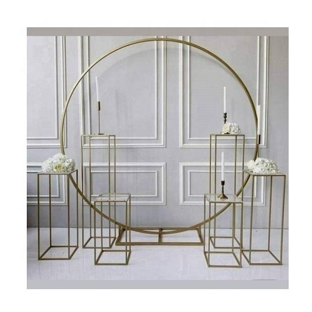Classy Round Iron Wedding Flowers Arch Backdrop With Plinths Columns/Cake Stand
