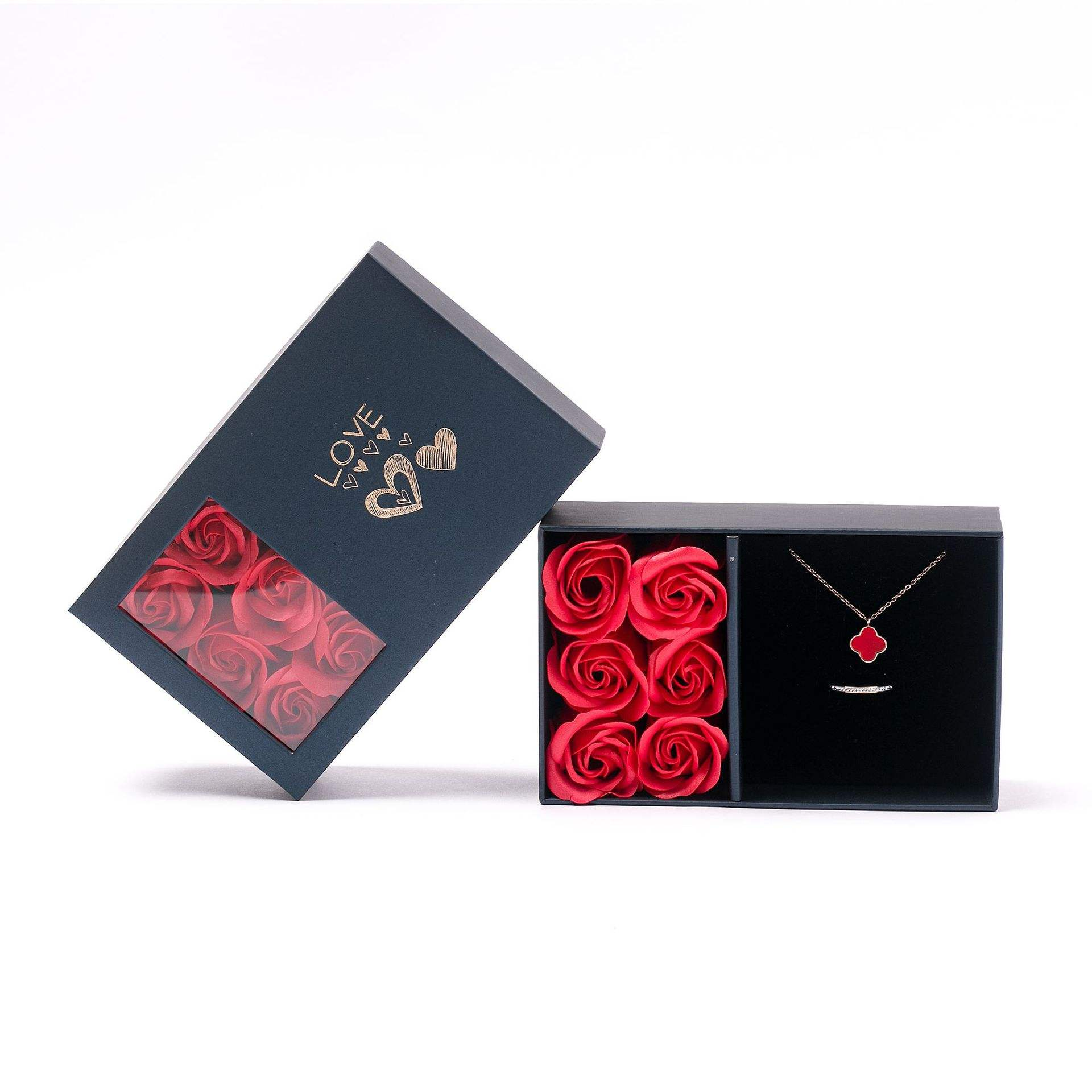 Six eternal flower gift box manufacturers spot romantic Valentine's Day jewelry box black square festival flower box