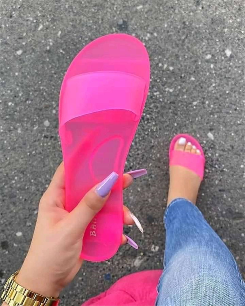 Clear Jelly pvc Sandals Womens Luxury Designer Shoes Transparent Glossy Pool Slides Lady Rubber Slip On Sandals