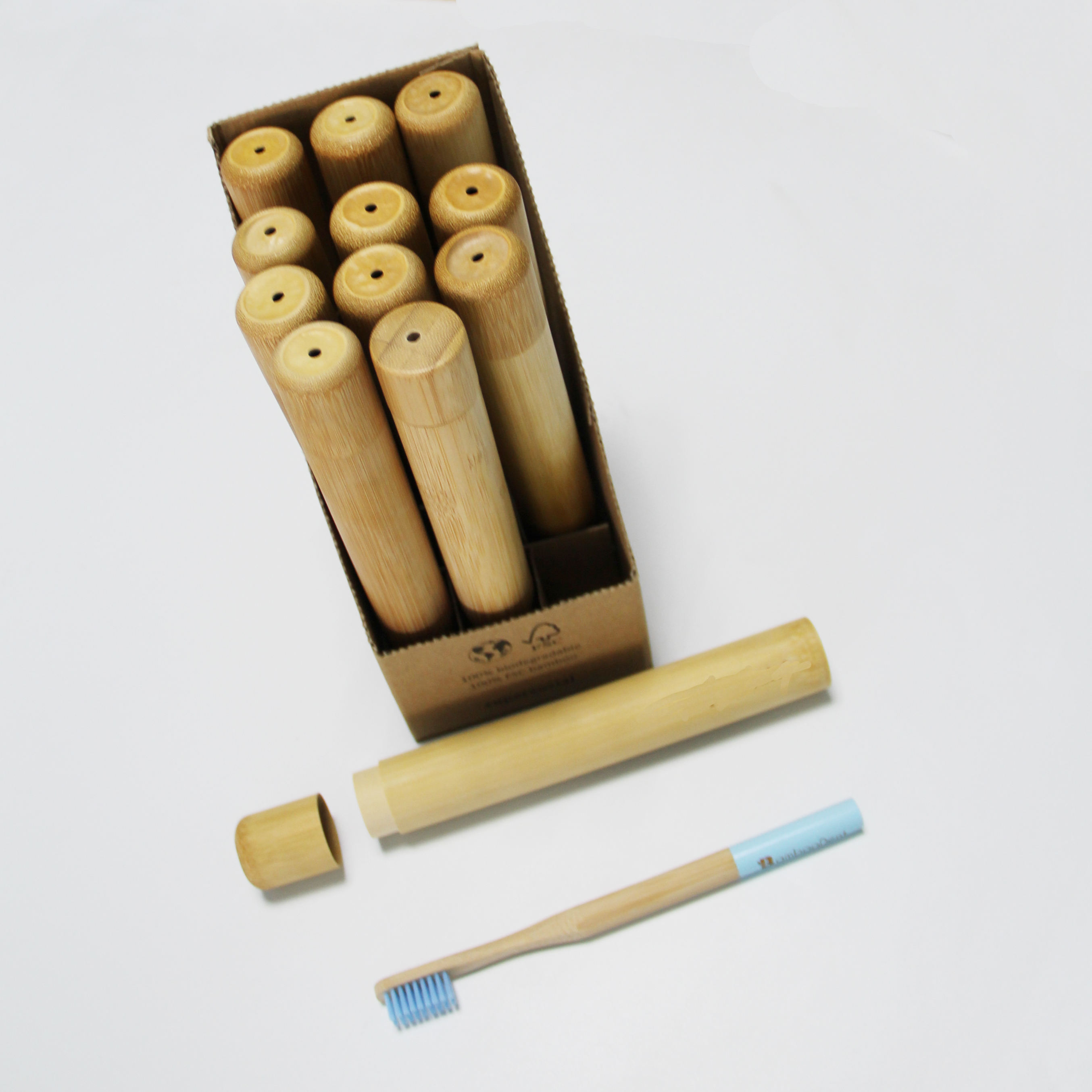 OEM available portable bamboo toothbrush tube case