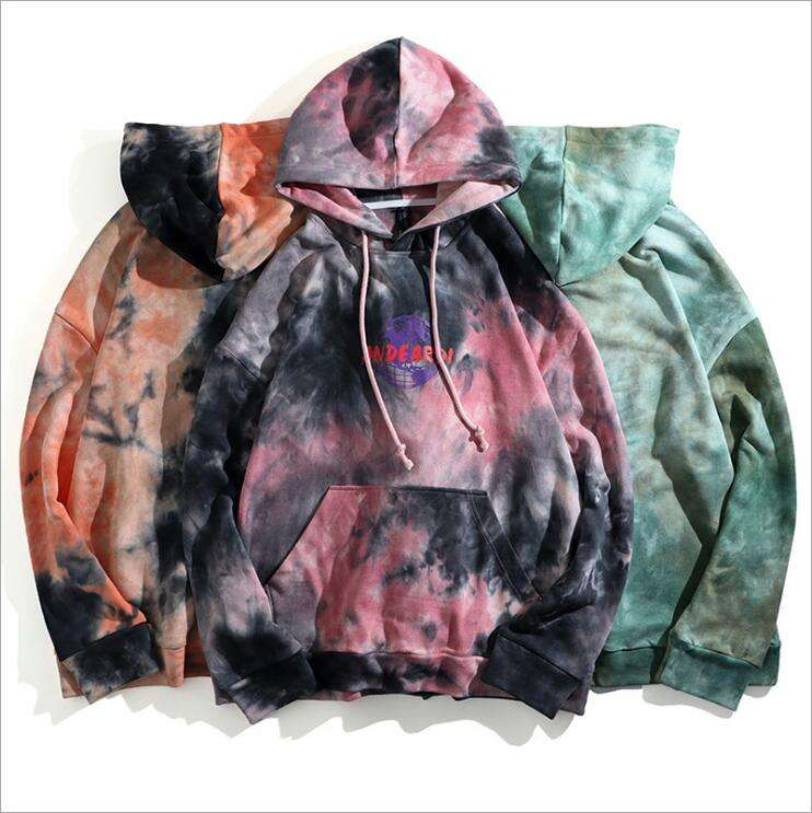 2019 Autumn New Style Men Hoodies High Street Casual Pullover Men Graphic Tye Dye Hoodies