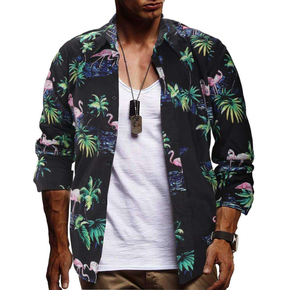 Hot Selling Men's Clothing 100%Polyester Long Sleeve Slim Fit Flamingo 3D Printing Floral Plus Size Shirt Mens Shirts in China