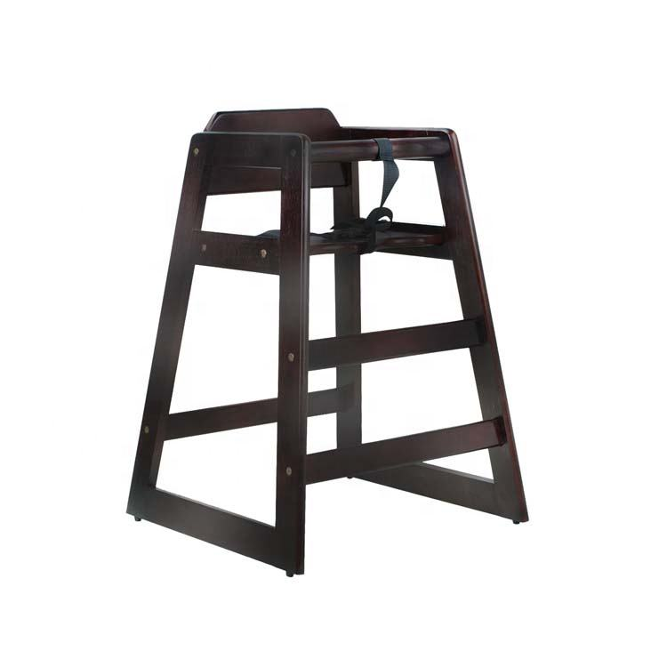 top quality new design cheap durable black solid wooden baby high chair