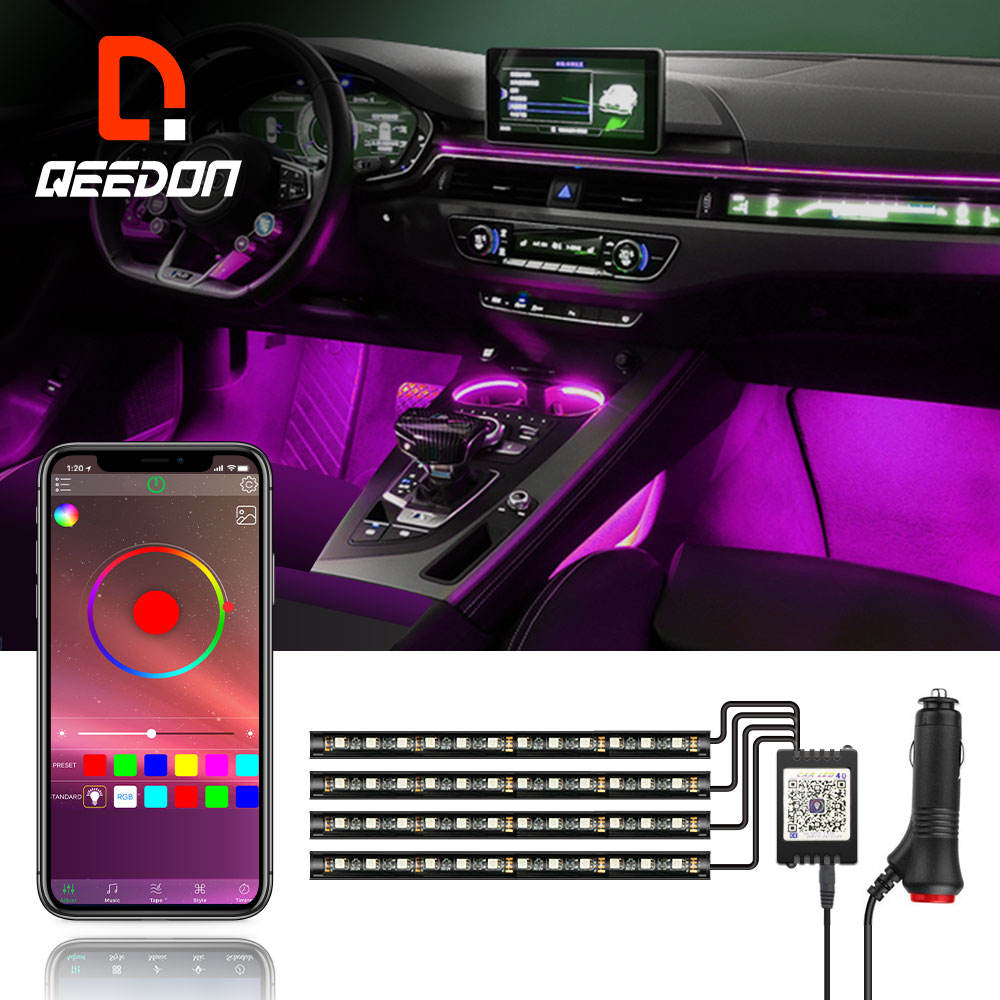 Qeedon RGB Remote car decoration lights interior music sync ace ns atmosphere car led light strip for car