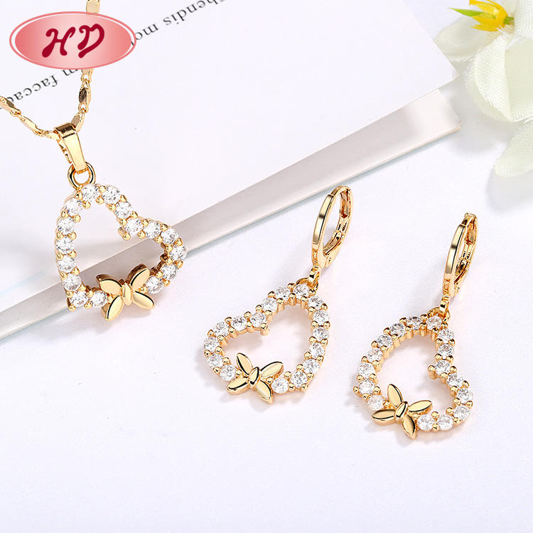Wholesale 2020 Cute Cubic Zirconia Glow In The Dark Necklace Jewelry Sets