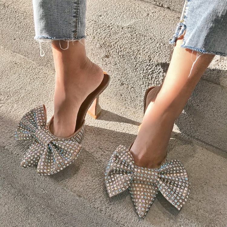 Popular explosion model and rhinestone bow wine club heel pumps for sexy ladies