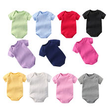 2021 new arrivels baby girl clothing rompers baby plain onesie plain short sleeve baby rompers