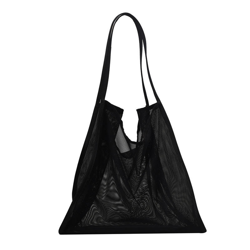 Wholesale Custom Summer Beach bag lady girls vintage nylon large mesh hollow out tote handbag