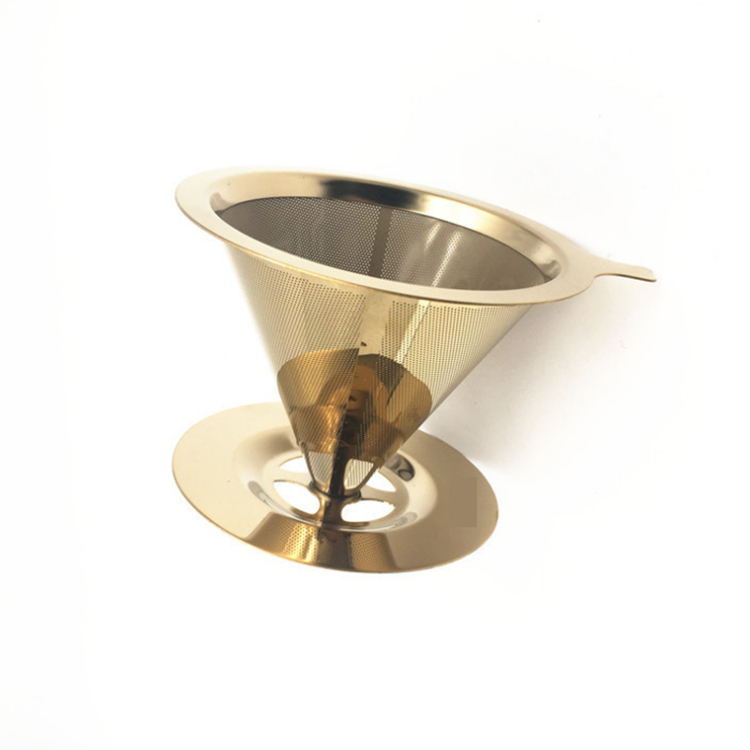 Titanium coated Stainless Steel V60 Cold Brew Coffee Cone Dripper with Stand