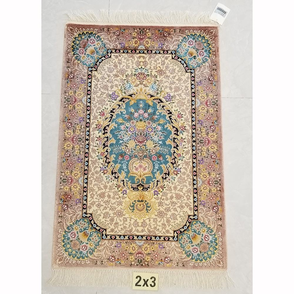 Vintage persian design silk afghan pure silk carpet rugs 2X3ft
