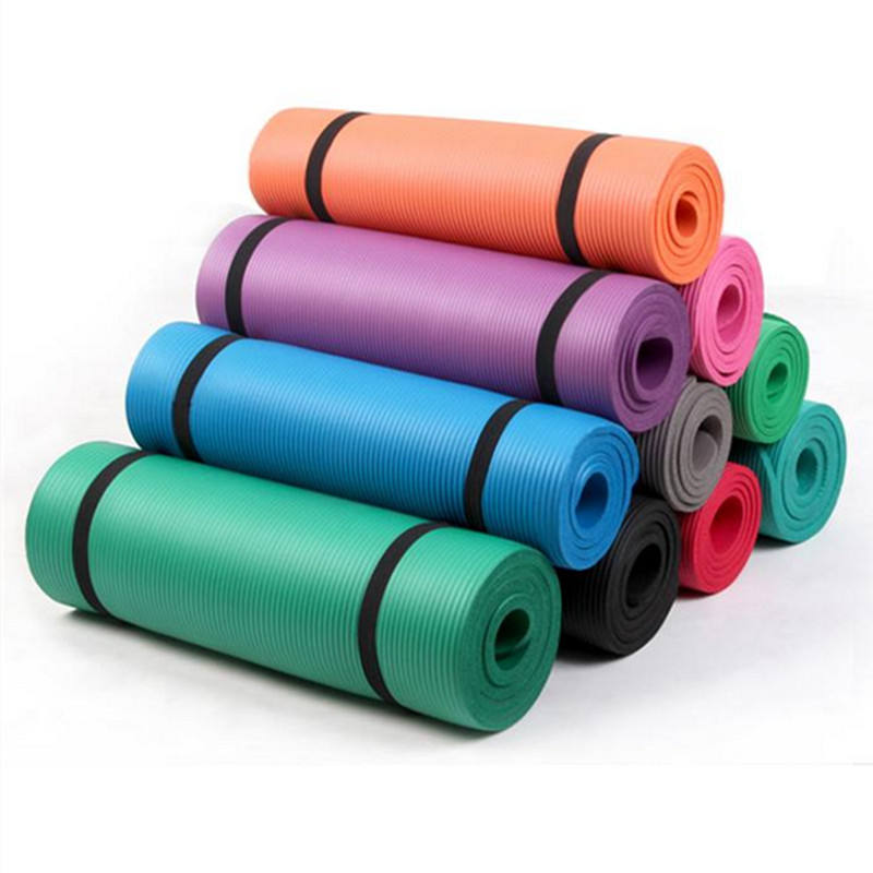 High quality material NBR yoga mat training cheap stock yoga mat size 183cm*61cm*10mm
