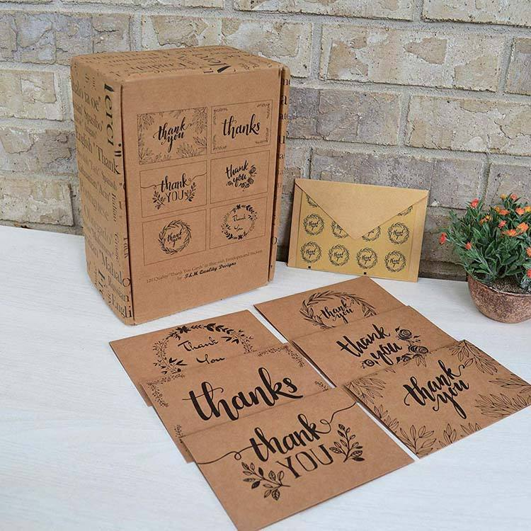 2019 Eco-friendly 120 bulk set custom brown kraft paper thank you cards with brown envelope & sticker