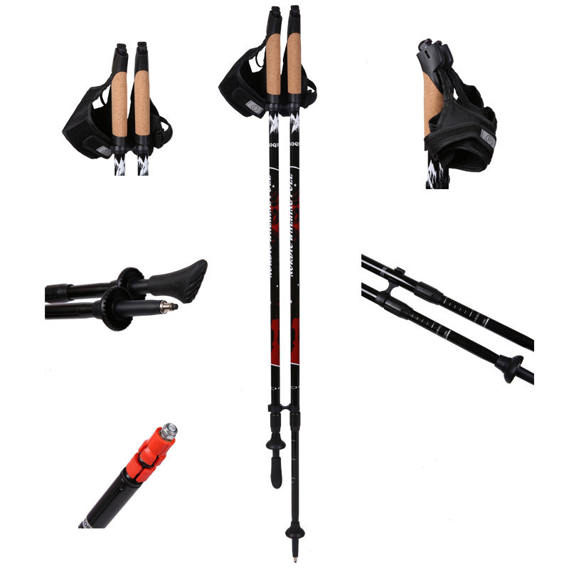 2020 Hot Sale 2-section Cork Handle Carbon Fiber Telescopic Hiking Sticks Nordic Walking Pole