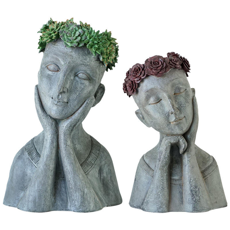 Creative Outdoor Figure Resin Flowerpot Head Pot With Vintage Lady Head Sculpture