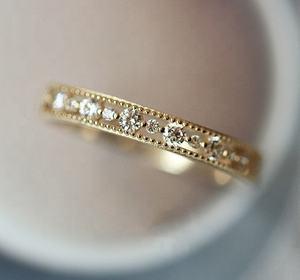 Women Wedding Jewelry Light Yellow Gold Silver Colour Simple Hollow Round Diamond CZ Ring KCR110-M