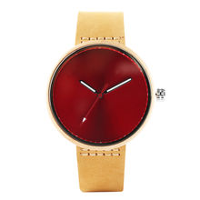 OEM Wholesale Custom Own Brand Wooden Red Face Wooden Watch Women