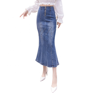 High quality style long denim skirts Maxi Plus Size Elegant women high waist Latest Dress Design Girls denim skirts for women