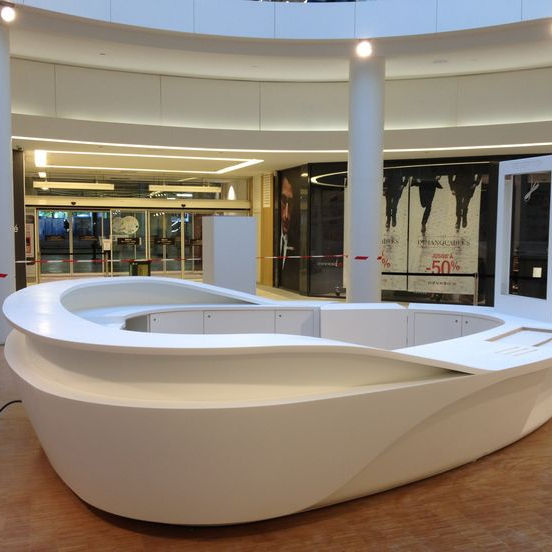 United States modern artificial stone round shape white office furniture front desk Service Desk