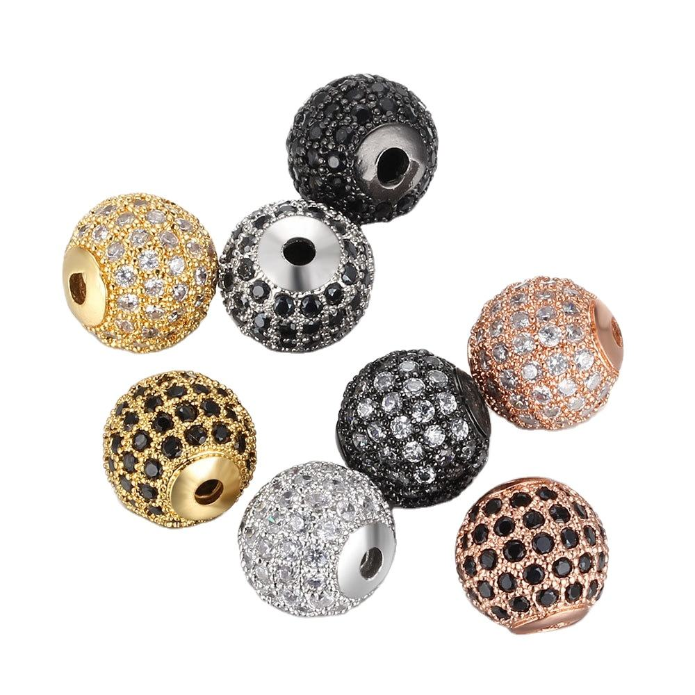 4mm 6mm 8mm 10mm 12mm black micro pave zircon round beads diy bracelet accessory loose beads