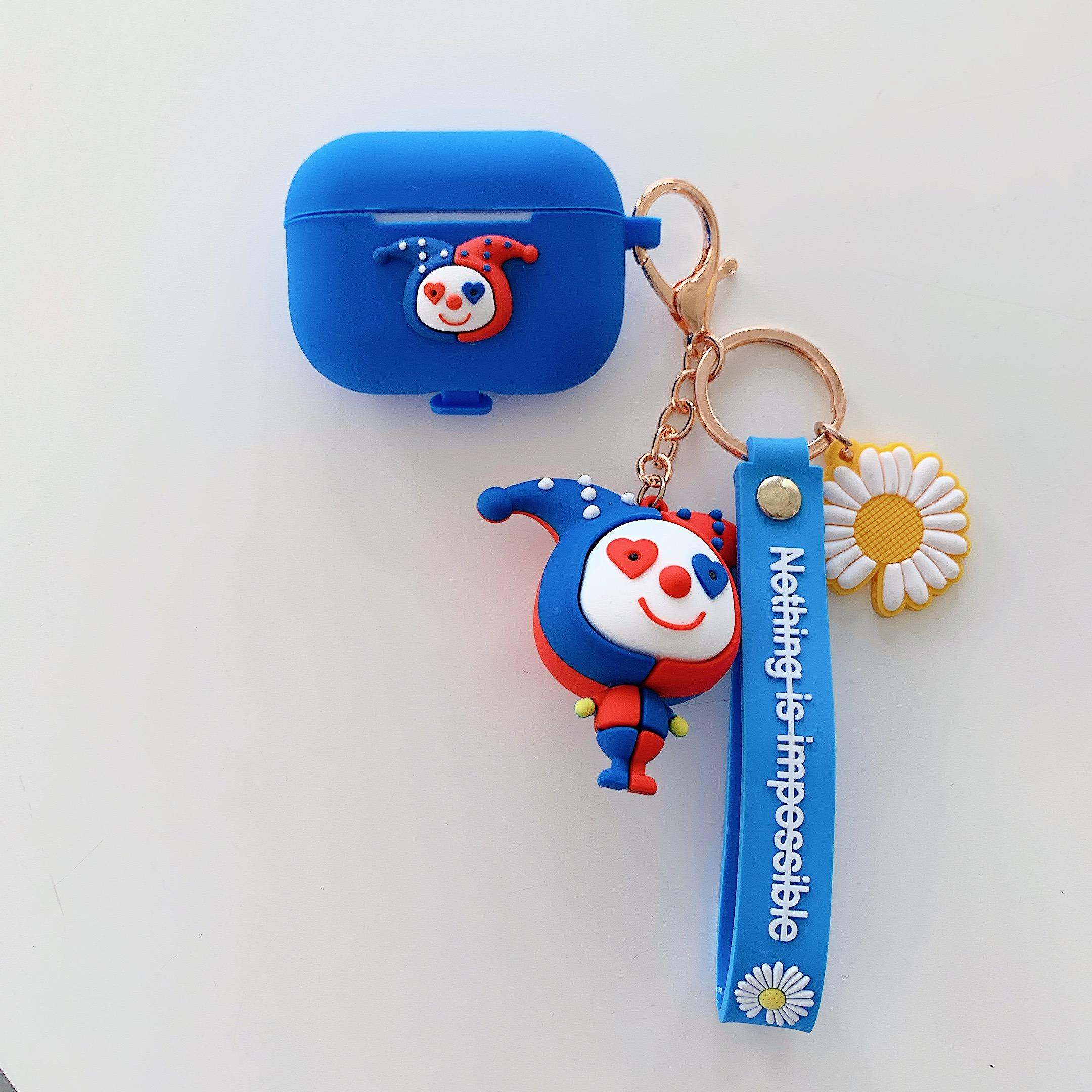 Silicone Clown doll with nice Keychain lanyard bluetooth earphone pouch for apple air po /Airpods Pro earphone protect cover