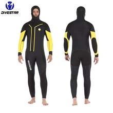 DIVESTAR Scuba Diving men long sleeve hooded full wetsuit, 5mm7MMhooded neoprene diving suit