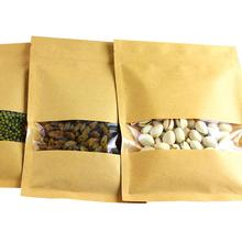 Kraft Paper Packaging Pouch Reusable Food Safe Resealable Ziplock Bags With Window