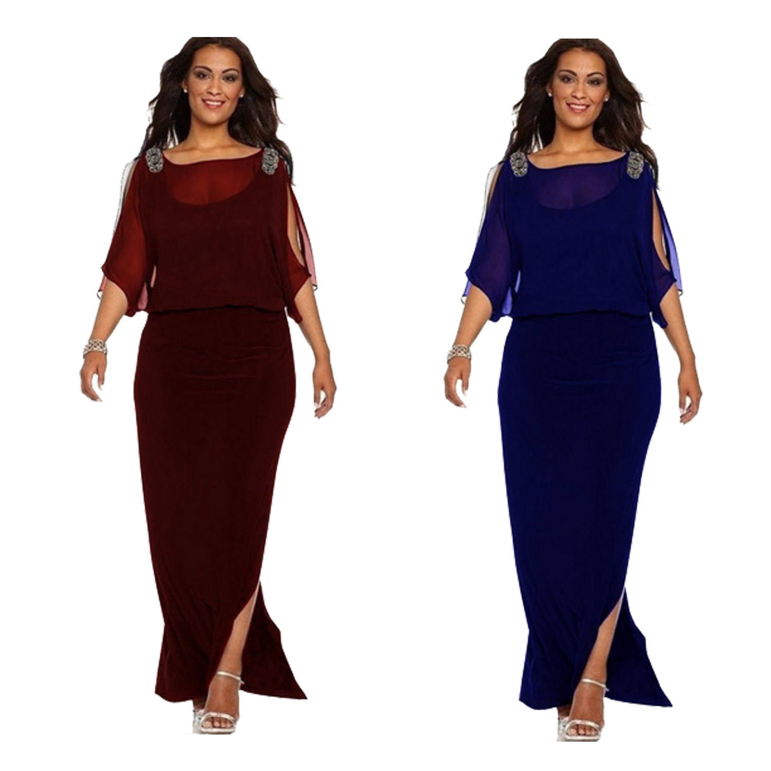 Custom Maxi <span class=keywords><strong>Mode</strong></span> 2021 Classy Plus Size Chiffon Lange Sexy Vrouwen Party Dress