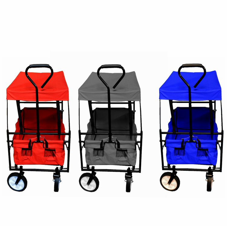 Garden Steel Frame Camping Cart Trolley hand truck collapsible Canopy Utility Travel folding beach wagon