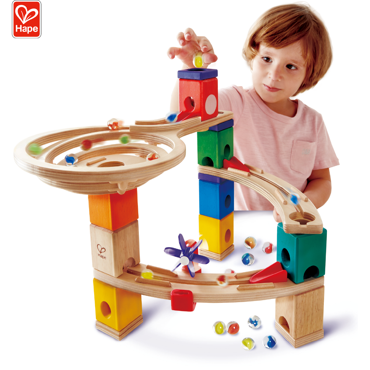 High Quality STEAM Toy Hape Quadrilla Building Blocks Marble Run Game