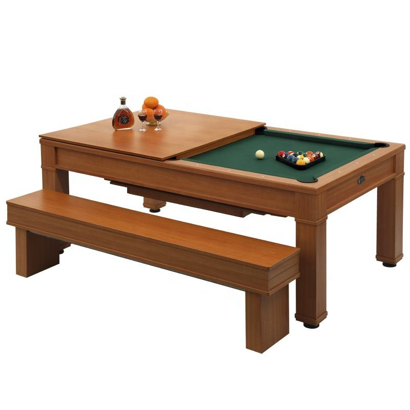 JX918B hot sale 2 In 1 Convertible Billiard Indoor Wooden Fusion Pool Dining Table Snooker