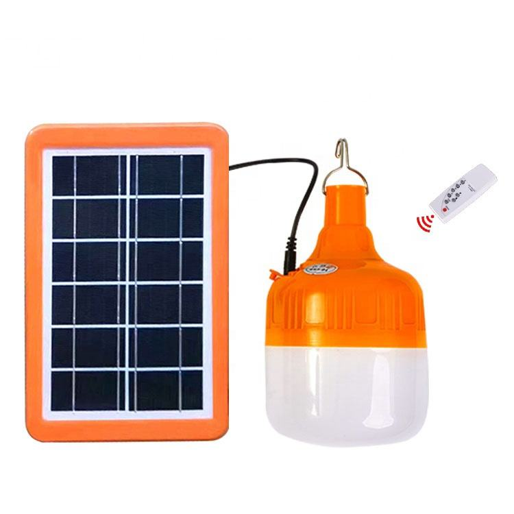 JD Wholesale Outdoor Light Portable Bulb Solar Energy Lamp Lighting LED Bulb With Plug- in Solar Power Panel