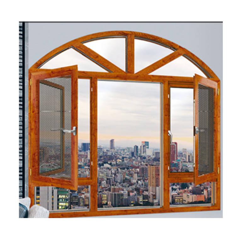 De aleación de aluminio residencial de la <span class=keywords><strong>casa</strong></span> de seguridad curvada en forma de ventana redonda de aluminio ventana abatible