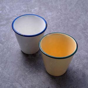 JQY 280cc vintage porcelain enamel green & blue rim hotel water mug without handle restaurant tea cup