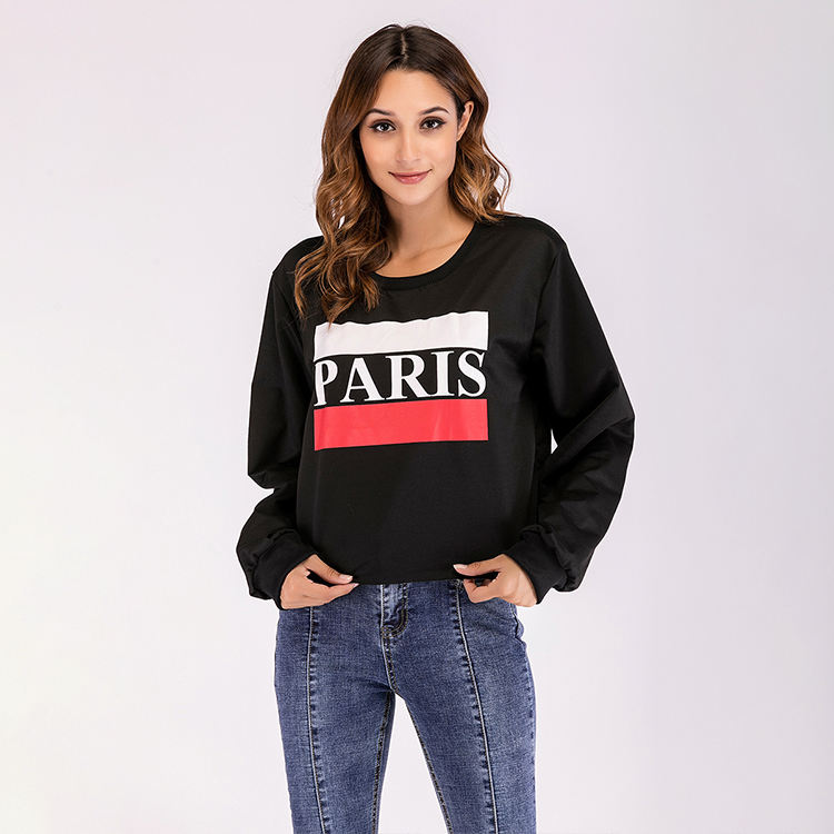 Women's Paris Printed Round Neck Crop Sweatshirts in black