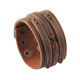 Adjustable size 3 row press button clasp vintage wholesaler custom Handmade Brown Wide Genuine Mens Leather Bracelet Bangle Cuff