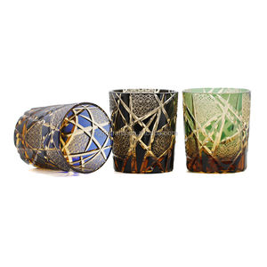 In stock Japanese Edo Kiriko amber glass drinking whisky cup cased glass cutting