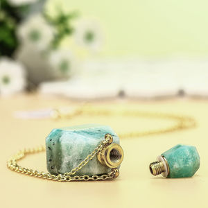 Natural agate stone bottle pendant moon crystal necklace