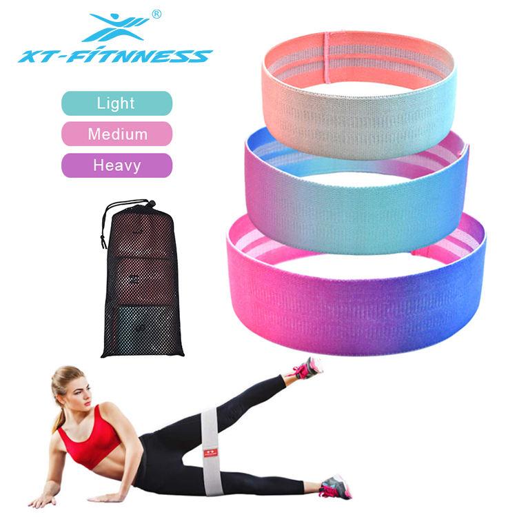 Wholesale gradation color hip circle fitness resistance band glute band