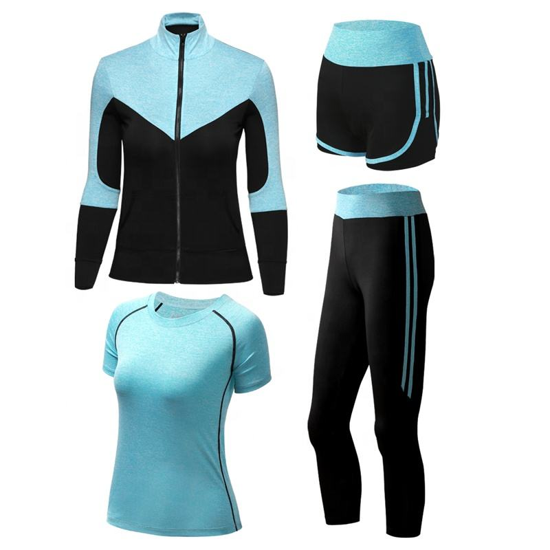 Vrouwen Sport Running 4 Delige Set Rits Jas + Quick Dry T-shirt + Shorts + Broek Fitness Gym Yoga pak Workout Kleding