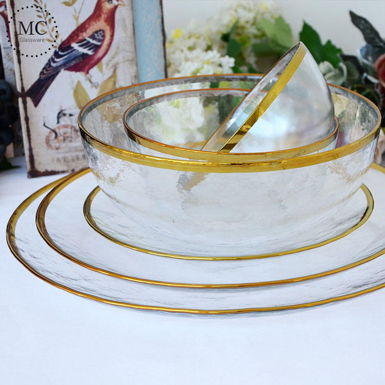 Nordic Style Gold Rim Glass Dinner Plate Transparent Dessert Bowl Western Dish Creative Salad Tray Fruit Plate Dinnerware Sets