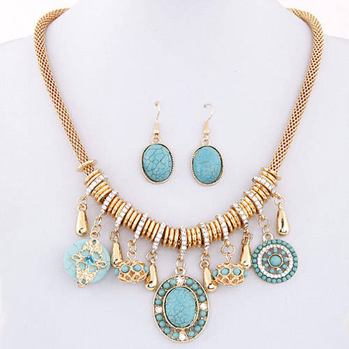 Bohemian Luxury Beach Dresses Decorate Exaggerated Turquoise Drop Retro Ethnic Women Necklace Earring Jewelry Set